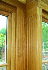 These fluted oak posts illustrate the unique natural beauty of our seasoned oak frames