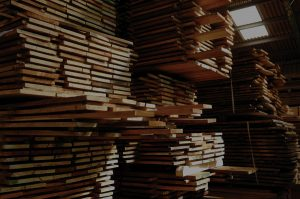 Oak boards stacked to be air dried and naturally seasoned for approx. 1 year per 25mm thickness.