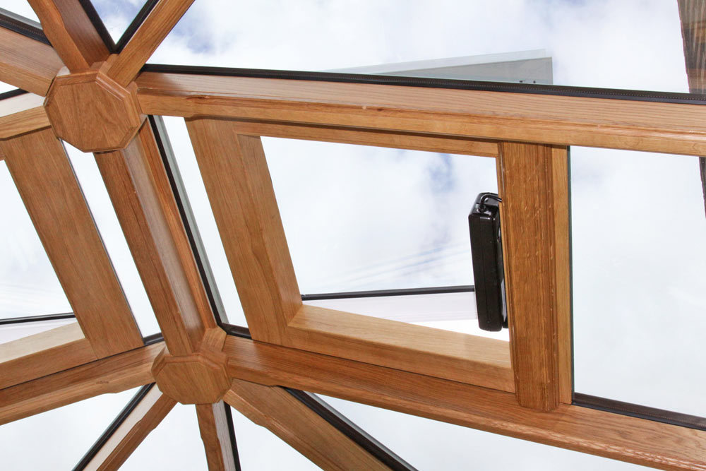 Oak Lined Electric Roof Vents - Richmond Oak Conservatories