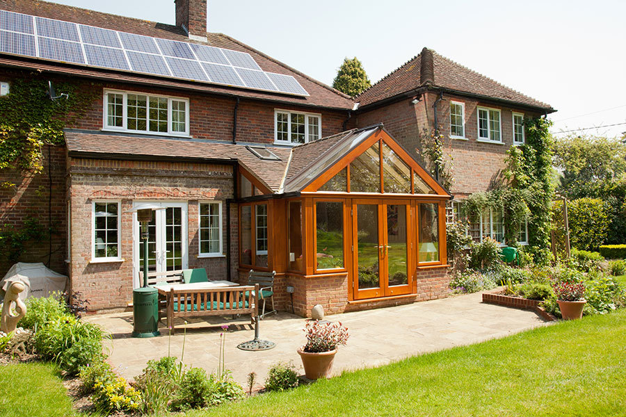 Tiled Roof Oak Garden Room living space with Velux Windows