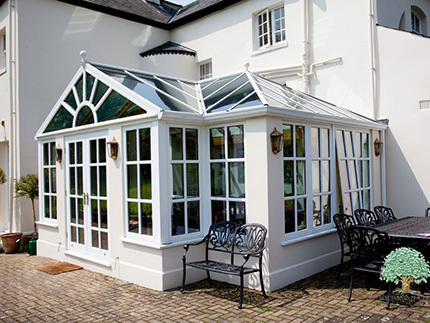 Colbert Oak White Sunburst Gable Conservatory - listed