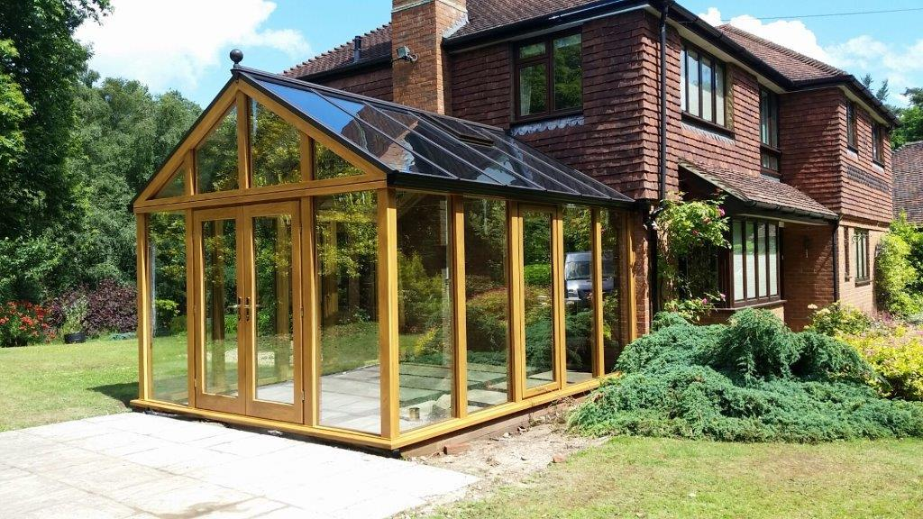 Hardwood conservatory with contemporary frames