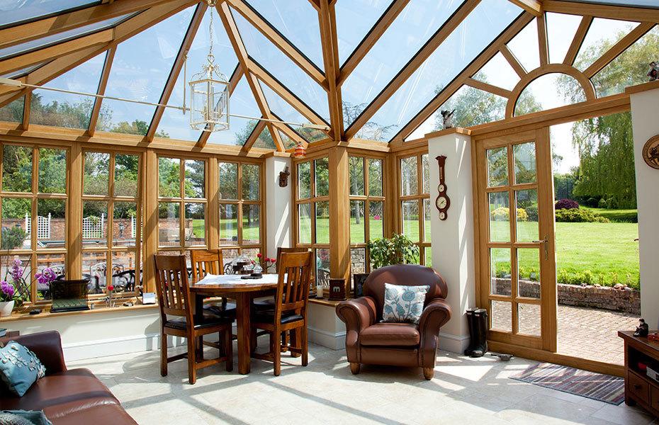seasoned oak framed conservatory extension in Hertfordshire
