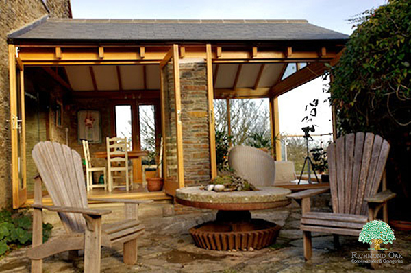 Oak framed garden room with slate roof