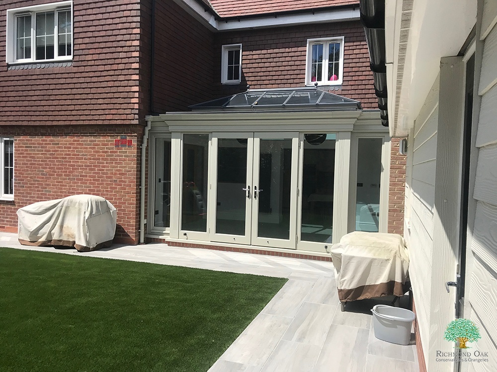 Grey painted seasoned oak framed orangery