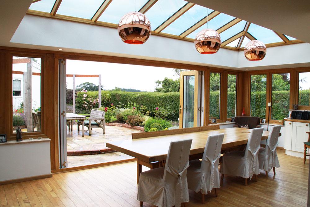 oak orangery kitchen extension with bi fold doors