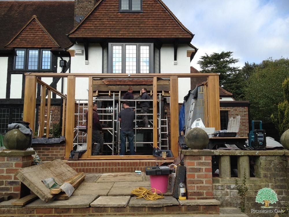 Wood Orangery frame installation