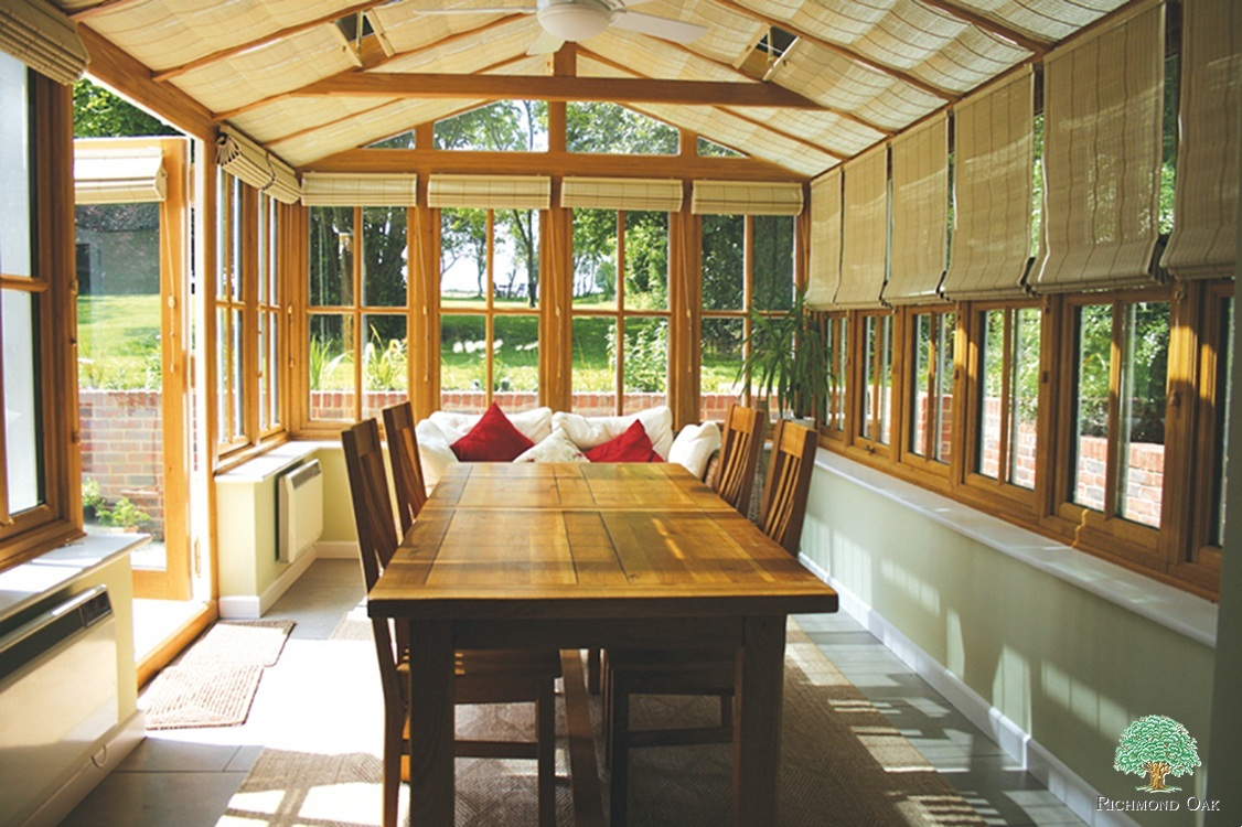 Wooden Conservatory with blinds
